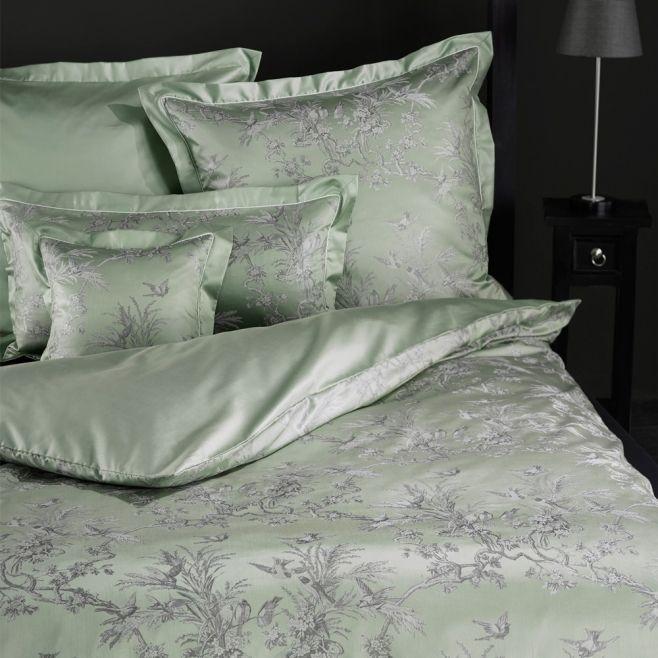 Зеленое постельное белье Curt Bauer NATUR (1033), двуспальное с жаккардовым плетением