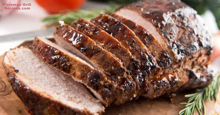 Delicious grilled whole pork loin with honey mustard