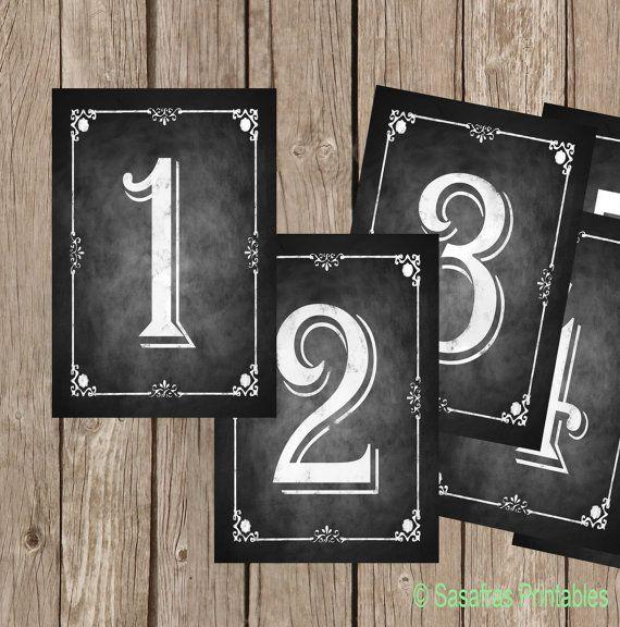 DIY Printable Table Numbers - Chalkboard Style - 5x7 - Set of 10 - Numbers 1-10