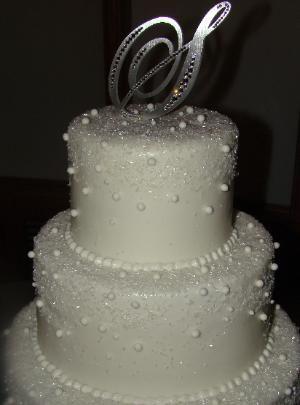Sugar Crystal Diamond And Pearls Wedding Cake