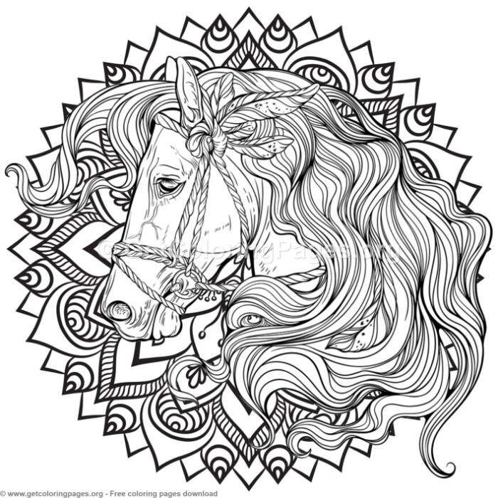 5 Horse Mandala Coloring Pages Free Instant Download Coloring Coloringbook Coloringpages Alpha Mandala Coloring Pages Horse Coloring Pages Mandala Coloring