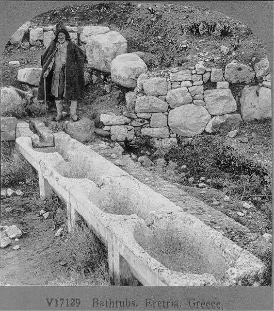 Bathtubs,Eretria,Greece,Row of 4 interconnecting ancient bathtubs,February 1926
