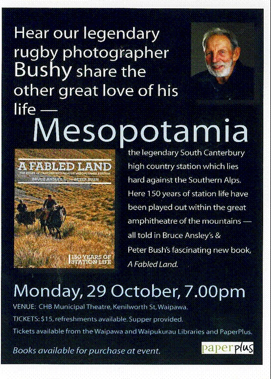 Come and join us on the 28th October in Waipawa to hear Bushy talk about Mesopotamia