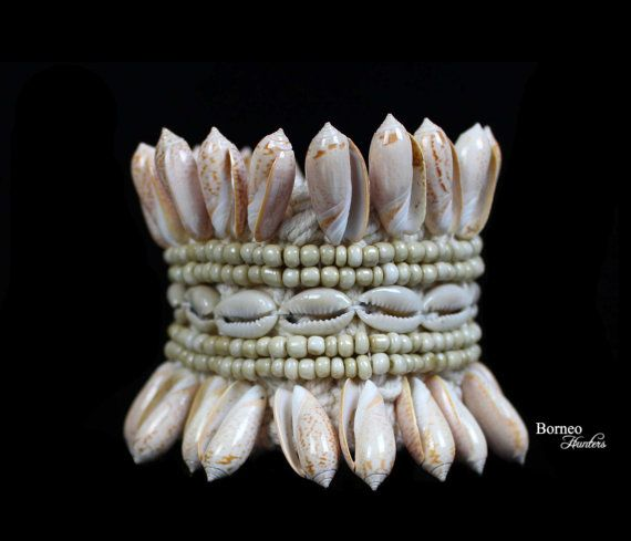 Shell Armband Tribal Armlet Mixed Shell Woven Arm by BorneoHunters