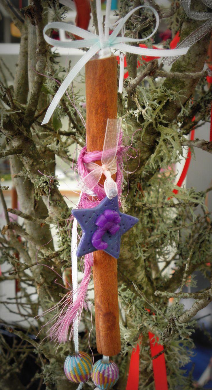 christmas decor!! clay star on a cinnamon stick