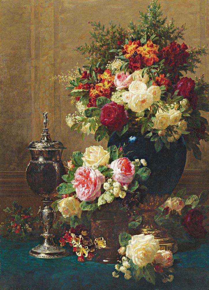 Jean Baptiste Robie Çiçekli Natürmort