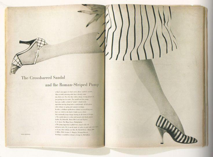 "Alexey Brodovitch - ""Harper's Bazaar"" (Mars 1954) ""The Crossbarred Sandal..."", photographies de Lillian Bassman."