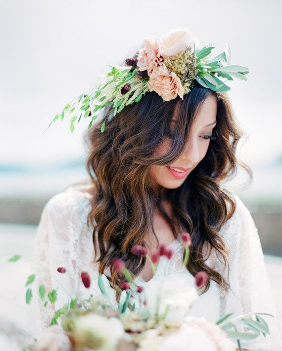 Negin wore a flower crown of English roses, carnations, berries, and wheat.