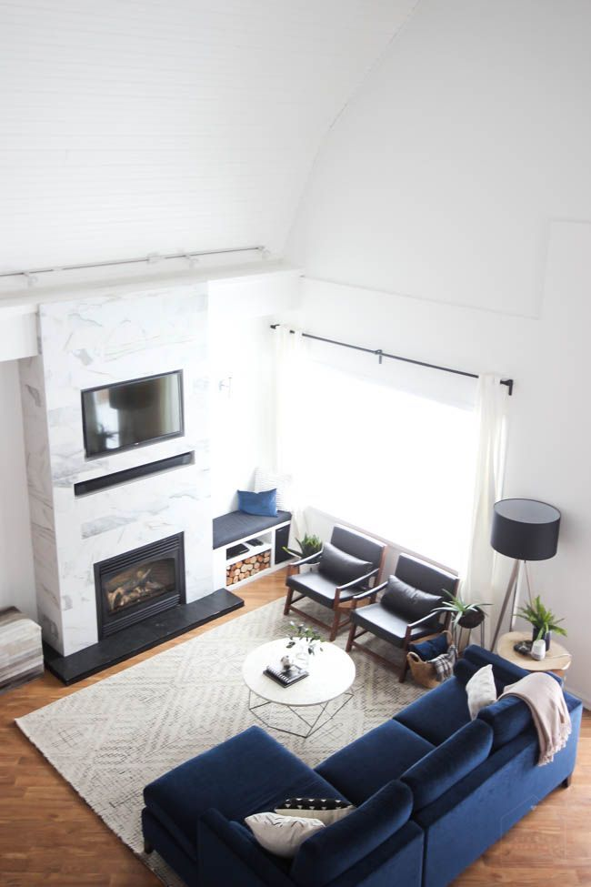 10 Show Stopping Modern One Room Challenge Reveals From The Fall Love Create Celebrate Blue Couch Living Room Living Room Reveal Living Room Scandinavian #one #couch #living #room