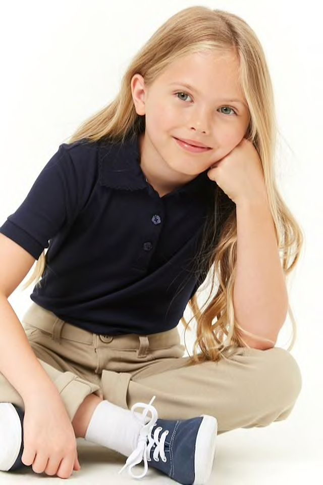 ada606b12482d Girls French Toast Scalloped-Trim Polo (Kids) in 2019 | Kids styling ...