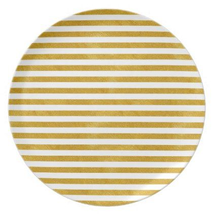 Elegant Gold Stripe -Custom Your Color- Dinner Plate - minimal gifts style template diy unique personalize design