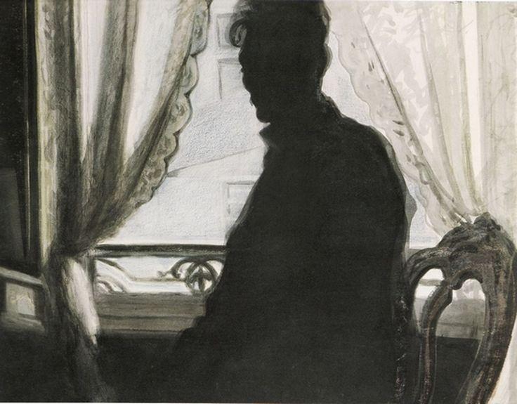 Léon Spilliaert - Silhouet van de schilder, 1907, Oost-indische inkt, penseel en kleurpotlood, gewassen, op papier, 498 x 652 mm, Museum voor Schone Kunsten Gent