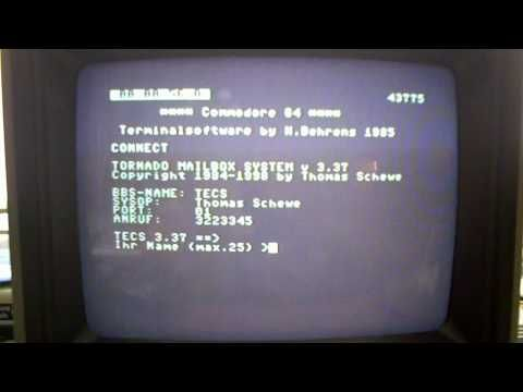 300 Baud connect to a dial up bbs (Tornado,TECS) using a Commodore 64 + dataphon acoustic coupler