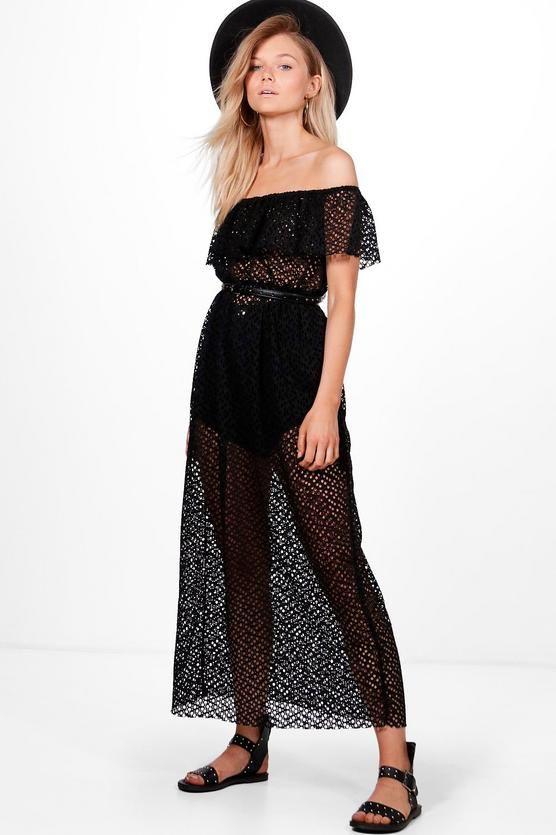 Petite Saskia Bardot Mesh Maxi Dress