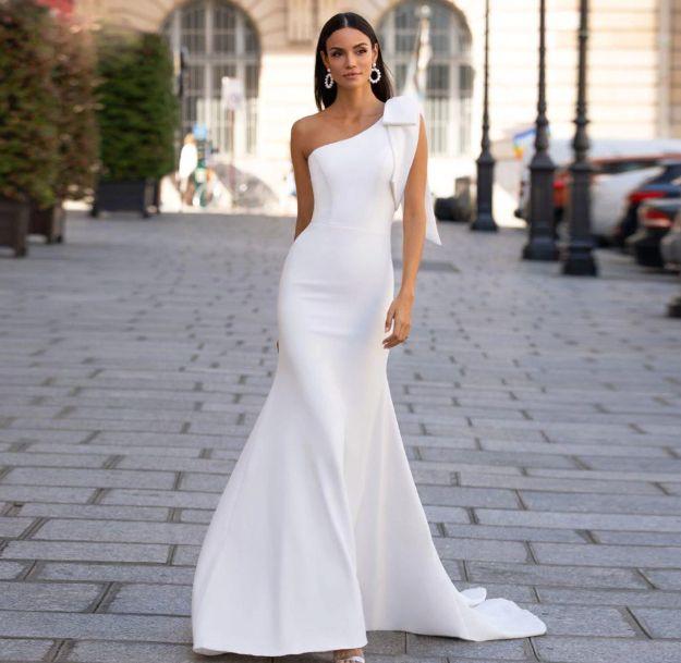 Simple One Shoulder Soft Satin Mermaid Wedding Dresses In 2020 Satin Mermaid Wedding Dress Wedding Dresses Satin Satin Bridal Gowns