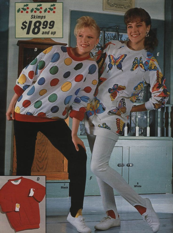 80's fashion omg, I forgot about the puffy 'sweatshirts' (left)-- they were comfy