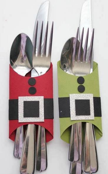 christmas crafts fancy dinner table setting silverware holder santa suit. Homemade DIY project.