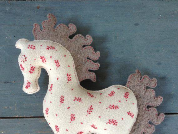 horse white handmade eco embroidered fairytale by sudakworkshop, €55.00