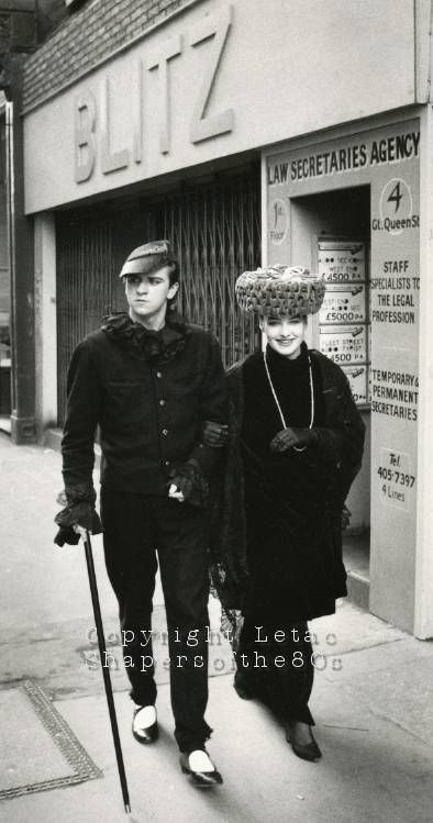 Blitz, London. U.K ...the club to be seen and photographed at!    King and queen of the Blitz: Steve Strange wearing PX and Kim Bowen crowned by Stephen Jones titfer in 1980.