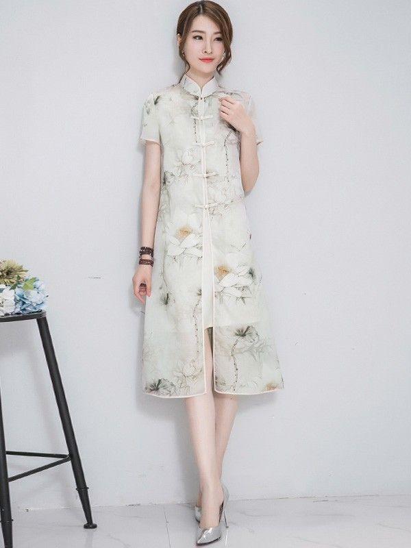 Two Piece Qipao / Cheongsam Dress & Blouse in Lotus Print