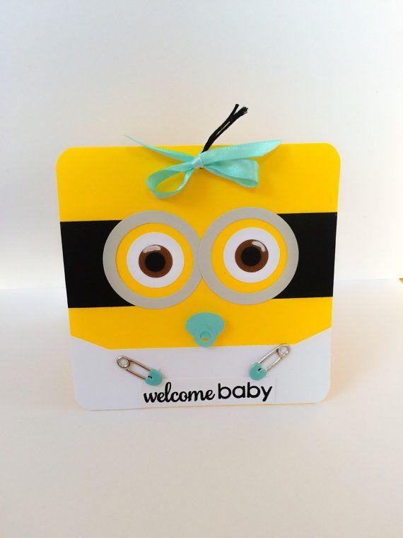 Handmade Minion Baby Card Baby Boy Minion Minion by DressItUp4U