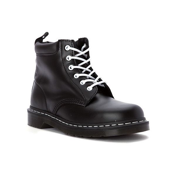 Dr. Martens 939 6 Boots ($125) ❤ liked on Polyvore featuring shoes, boots, black smooth, rock shoes, dr martens shoes, cushioned shoes, dr. martens and kohl shoes