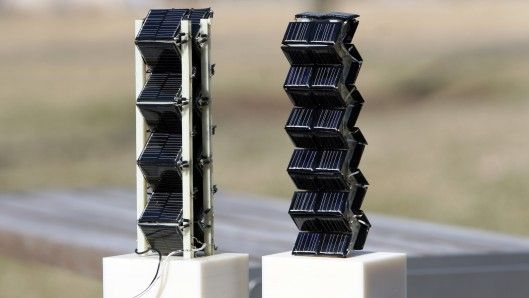Prototype solar towers built at MIT that emit 20 times as much power compare to standard solar panels. Because the solar panels are vertical instead of horizontal, they are able to collect more sunlight during the later hours of the day, increasing uniformity of output.  Very interesting.
