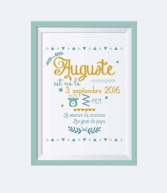 Affiche naissance A4 - Typographie Affiche personnalisée - cadeau naissance