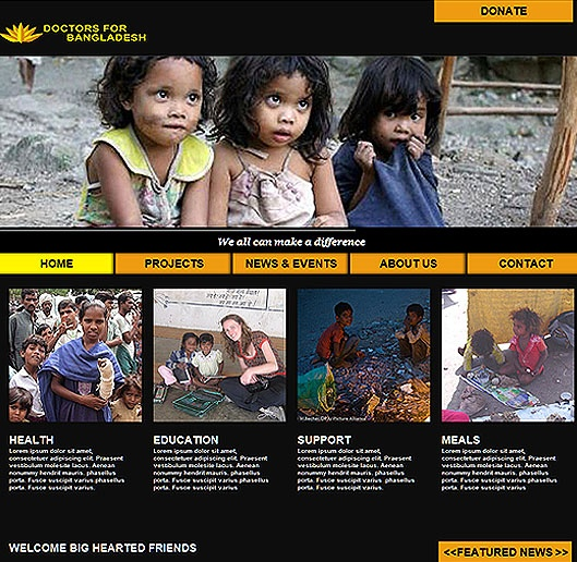 Doctors for Bangladesh - Website Design colored by YellowandRed