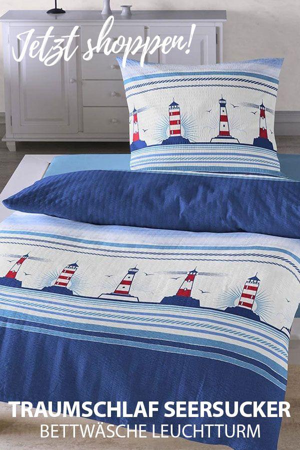 Kinderbettwäsche Leuchtturm.Traumschlaf Seersucker Bettwasche Leuchtturm Bettwasche Maritim