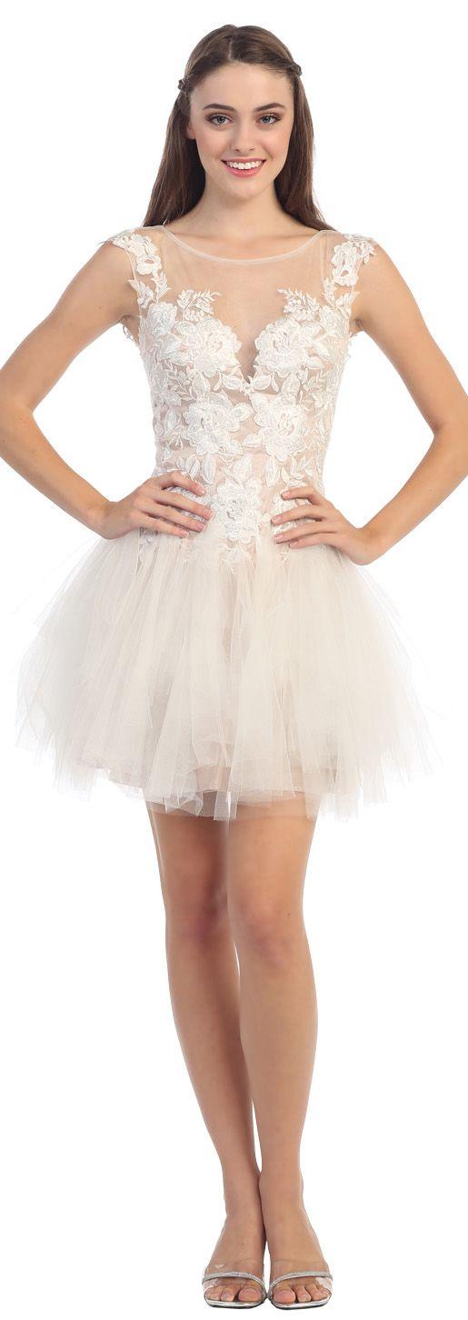 Tutu Mesh Skirt Nude Bodice Ivory Lace Embroidery Dress #discountdressshop #ivory #shortdress
