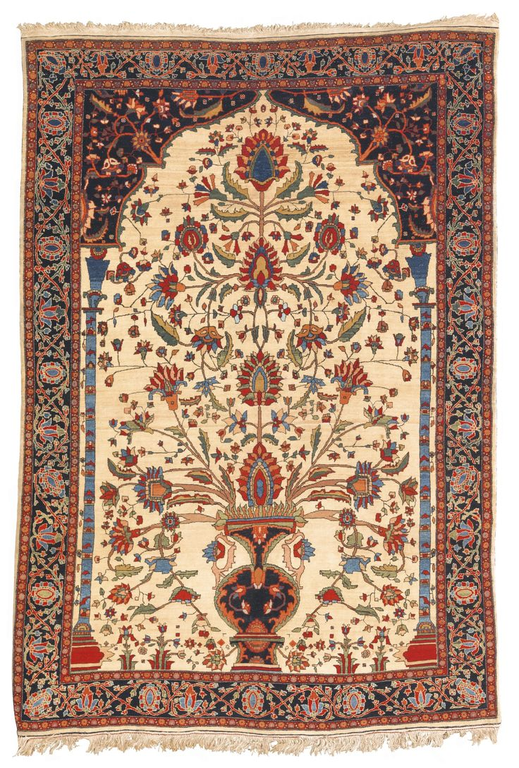 Persian Sarouk Fereghan Prayer Rug Circa 1890 Patterns