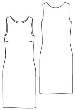 Technical drawing of Dress See the Sewing Pattern Details, a Classic Shift Pattern. PDF See the Sewing Pattern Details 763