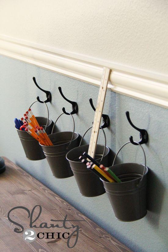 DIY: kids art supply buckets on hooks