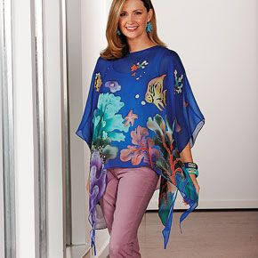 Silk Sea-Life Top--Create a splash with this wearable, one-of-a-kind Silk Sea-Life Top. Hand-painted with exotic undersea creatures, this sheer flowing tunic with tendrilled hem is made of 100% lightweight silk. Imported.