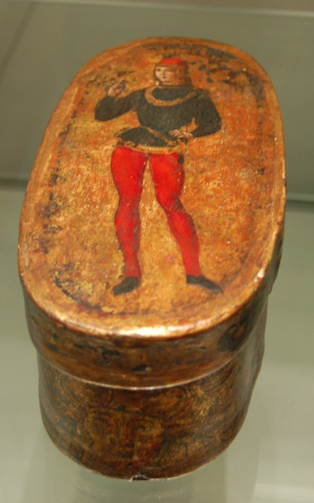 Oval painted wooden box from Florance, Italy, dating from the 15th century.  I'm putting this here because it looks like it would go with the oval playing cards.