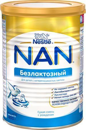 NAN (Nestlé) Безлактозный (с рождения) 400 г  — 741р. ---------- Сухая смесь NAN безлактозный с рождения 400 г. NAN Безлактозный - полноценная питательная смесь для детей с лактазной недостаточностью. Смесь NAN Безлактозный предназначена для замены молока в рационе грудных детей и детей младшего возраста, страдающих от непереносимости лактозы и после перенесенной диареи. Уникальная комбинация компонентов Первая защита в смеси NAN Безлактозный: помогает ускорить процесс восстановления после…