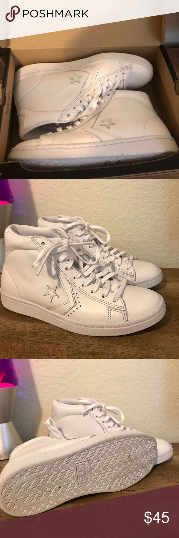 CONVERSE PRO LEATHER LOW PROFILE HIGH TOP Worn once!! Will come in box :) Converse Shoes