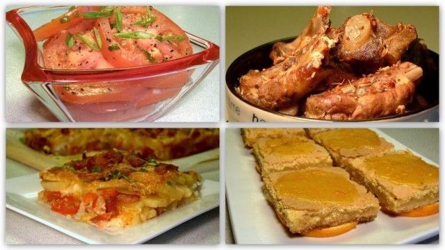 Воскресный обед 2: Пола Дин (Paula Deen)-возможность сделать заранее. Маринованные помидоры(с вечера),свиные рёбрышки в мультиварке, картоф.запеканка, апельсиновые полоски.