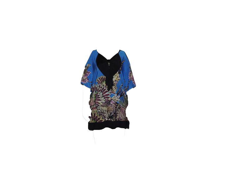 Çiçek Desenli Kurdeleli Lacivert Bluz