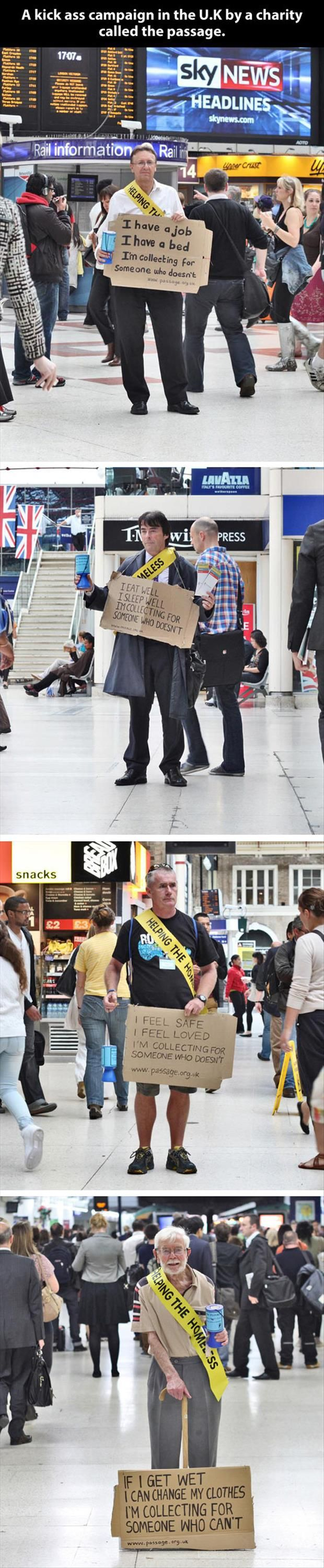 people with jobs collecting money on streets for the homeless