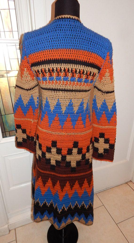 Retro Crochet Dress Handmade Women 70's Style by LuvMyVtg65