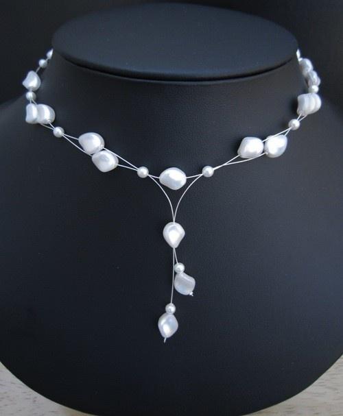 Natalia Necklace - Bridal Swarovski Pearls Multi Strand Y Drop. $58.00, via Etsy.