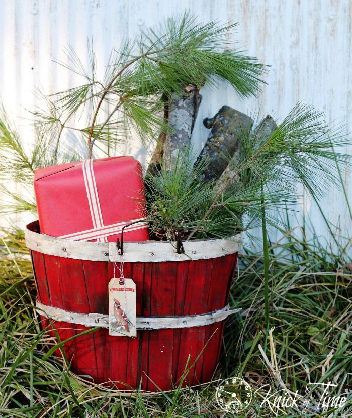 painted bushel basket for Christmas