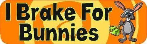 """10"""" x 3"""" I Brake for Bunnies Bumper Sticker Window Stickers Vinyl Decals Car"""