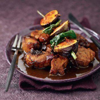 Filet mignon de porc, brochette de figues