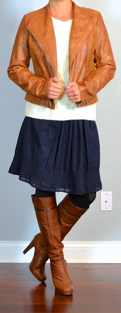 outfit post: brown leather jacket, cream cable knit sweater, navy a-line skirt, brown high heeled boots   Outfit Posts