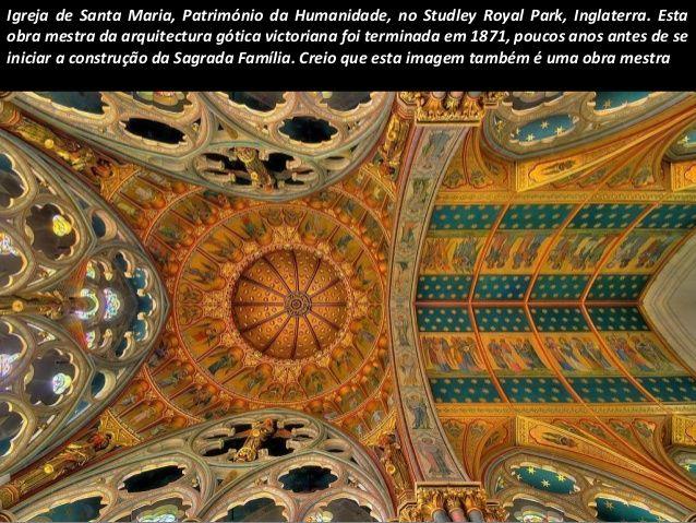 Igreja de Santa Maria, Património da Humanidade, no Studley Royal Park, Inglaterra. Esta obra mestra da arquitectura gótic...