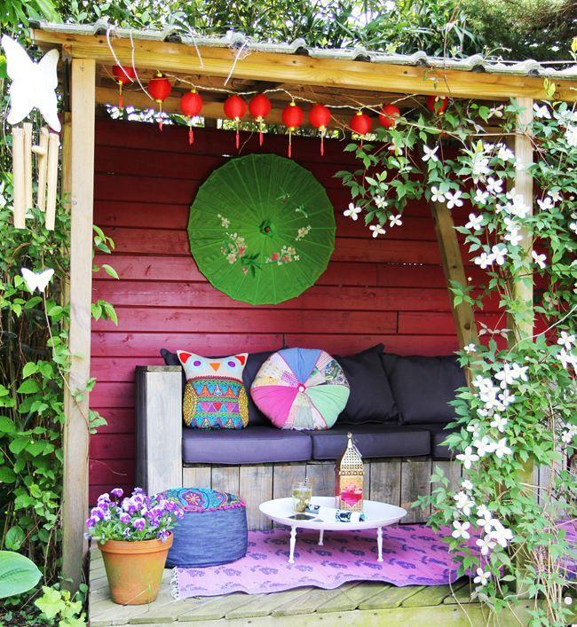 colorful - tuinhuisje met bohemian style decoratie - kleurrijk