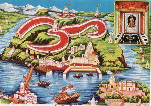 Omkareshwar (Hindi: ओंकारेश्वर) is a Hindu temple dedicated to God Shiva. It is one of the 12 revered Jyotirlinga shrines of Shiva. It is on an island called Mandhata or Shivapuri in the Narmada river; the shape of the island is said to be like the Hindu ॐ symbol. (via wikipedia)